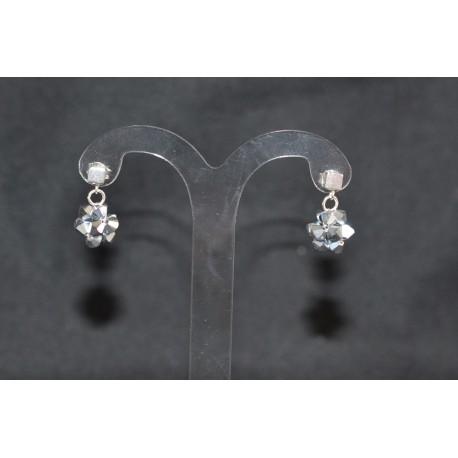 Boucles d'oreille cristal de swarovski et  clou cube argent 925 crystal light comet argent 2x