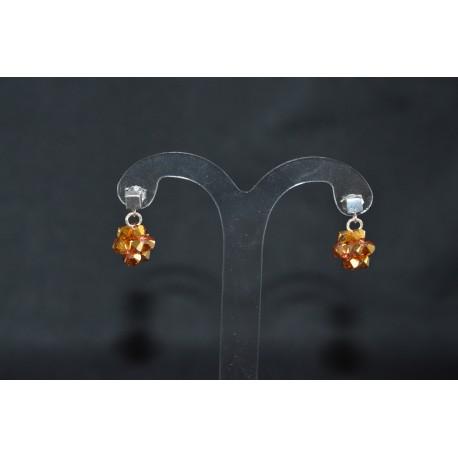 Boucles d'oreille cristal de swarovski et  clou cube argent 925 metallic sunshine 2x