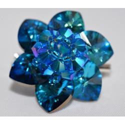 Broche cristal de Swarovski fleur capri blue