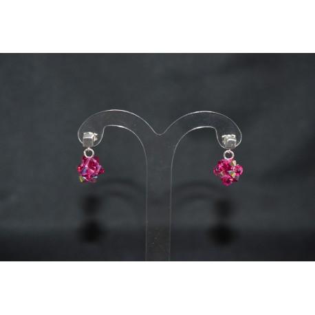 Boucles d'oreille cristal de swarovski et  clou cube argent 925 fuschia ab