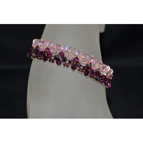 Bracelet cristal Swarovski manchette fuschia electra-rosaline ab2x