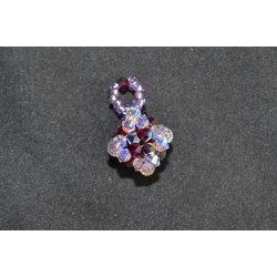 Pendentif cristal Swarovski cube violet ab2x et fuschia electra 2x