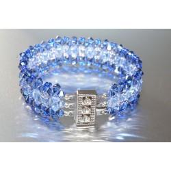 Bracelet cristal  Swarovski manchette 2 cm light sapphire - light sapphire satin