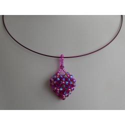 Collier câblé cristal de Swarovski coeur fuschia ab2x