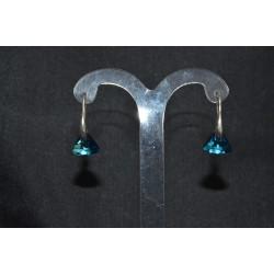 Boucles d'oreille cristal swarovski crochets en argent 925 triangle bermuda blue