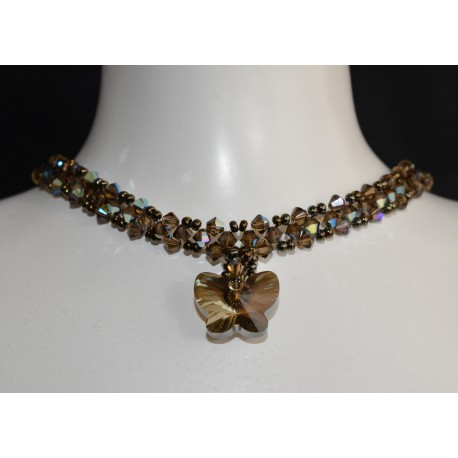 Ras du cou cristal de Swarovski papillon bronze shade et smoky quartz ab