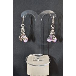 """Boucles d'oreille argent 925 et cristal de Swarovski """"jour de noce"""" light vitrail"""