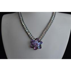 """Collier cristal de Swarovski """"Jour de noce"""" fleur light vitrail, tour de cou silver night et crystal ab2x"""