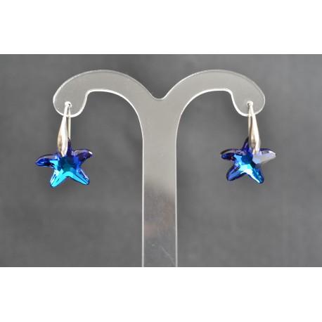 Boucles d'oreille cristal de swarovski et argent 925 étoile de mer bermuda blue 16 mm