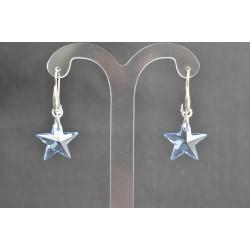 Boucles d'oreille cristal de swarovski et crochet argent 925 étoile cristal blue ab