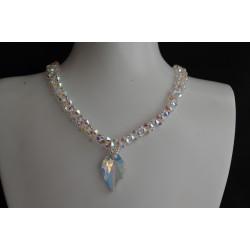 Collier cristal de Swarovski feuille crystal ab-crystal ab2x