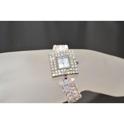 Montre argenté strass bracelet cristal de Swarovksi crystal ab2x