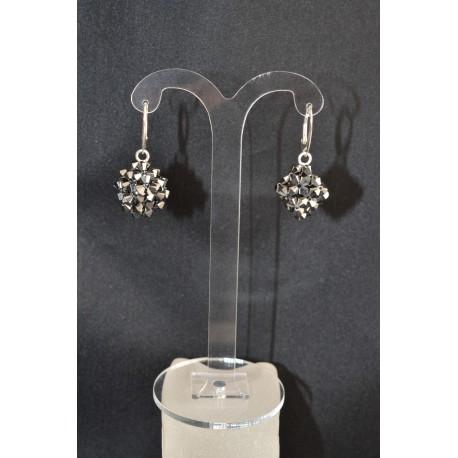 Boucles d'oreille argent 925  forme cube en cristal de Swarovski crystal light chrome 2x