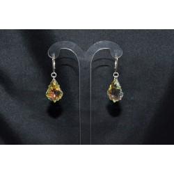 Boucles d'oreille cristal de swarovski et dormeuses argent 925 gouttes baroques 22x15mm crystal ab