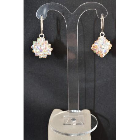"""Boucles d'oreille """"Flocon de neige"""" argent 925  forme cube en cristal de Swarovski crystal ab2x"""