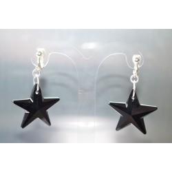Clips cristal de Swarovski étoile jet oreilles non-percées