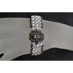 Bracelet cristal de swarovski manchette hématite 2x-crystal ab2x fermoir cabochon Swarovski