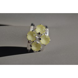 Bague 4 sertis, cabochon cristal de Swarovski 6 mm crystal powder yellow