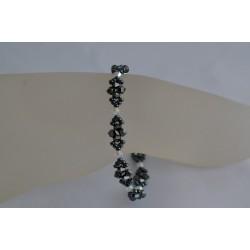 Tour de cheville cristal de Swarovski hématite 2x et crystal ab2x
