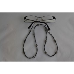 Cordon pour lunettes en crystal de Swarovski hématite 2x et crystal silver night