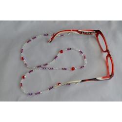 Cordon pour lunettes en crystal de Swarovski rouge et blanc