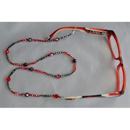 Cordon pour lunettes en crystal de Swarovski light siam ab - hématite 2x