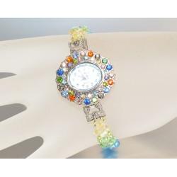 Montre strass bracelet cristal de Swarovksi multicolore