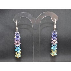 Boucles d'oreille cristal de Swarovski argent 925 multicolores