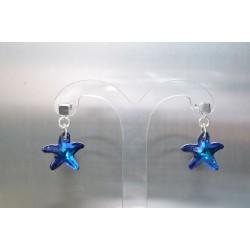 boucles d'oreille cristal de swarovski et argent 925 étoile de mer bermuda blue
