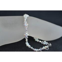 Bracelet de cheville crystal ab2x blanc scintillant