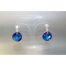 boucles d'oreille cristal de swarovski et argent 925 Twist bermuda blue