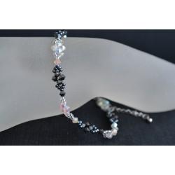 Bracelet de cheville crystal ab2x - hématite 2x blanc et noir