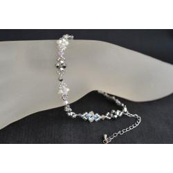 Bracelet de cheville crystal ab2x - light chrome 2x - blanc et argent