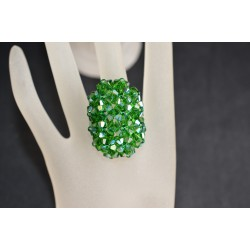Bague SwaBague cristal de  Swarovski grand hérisson allongée dark moss green ab