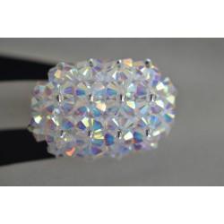 Bague cristal de  Swarovski grand hérisson allongée crystal ab2x