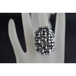 Bague cristal de  Swarovski grand hérisson allongée crystal light chrome 2x