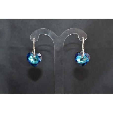 Boucles d'oreilles argent 925 et coeur cristal de Swarovski crystal bermuda blue