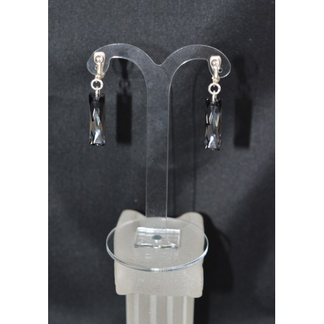 Boucles d'oreilles clips en cristal de Swarovski baguettes cristal de Swarovski crystal silver night  argent 925