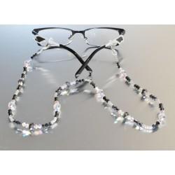 Cordon à lunettes en cristal, hématite 2x, cristal ab2x