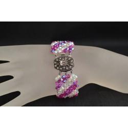 Bracelet cristal  Swarovski extra large crystal ab2x et fuchsia ab2x