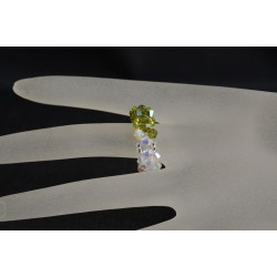 Bague - anneau en cristal de Swarovski crystal ab2x et olivine ab