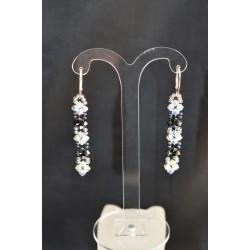 Boucles d'oreille cristal de Swarovski sur dormeuse argent 925 crystal ab2x - hématite 2x