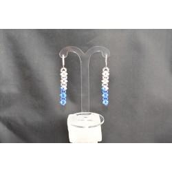 Boucles d'oreille cristal de Swarovski sur dormeuse argent 925 crystal ab2x - sapphire ab2x