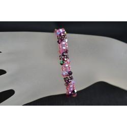 Bracelet fin cristal Swarovski fuchsia electra et rose ab2x