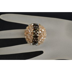Bague boule en cristal de Swarovski bronze shade ab2x et crystal golden shadow