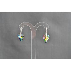 Boucles d'oreilles argent 925 et coeur Wild 17 mm cristal de Swarovski cristal vitrail médium