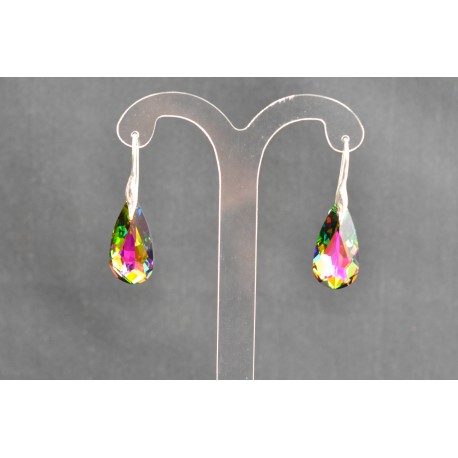 Boucles d'oreilles argent 925 et Larme mm cristal de Swarovski cristal vitrail médium