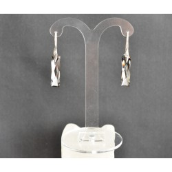 Boucles d'oreilles argent 925 et Queen Baguette cristal de Swarovski crystal silver night