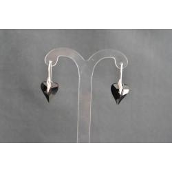 Boucles d'oreilles argent 925 et coeur Wild 17 mm cristal de Swarovski jet