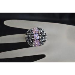 Bague boule en cristal de Swarovski crystal light chrome 2x et rosaline ab2x